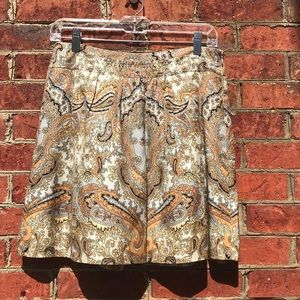 J. Crew Gold Patterned and Pleated Silk Mini Skirt